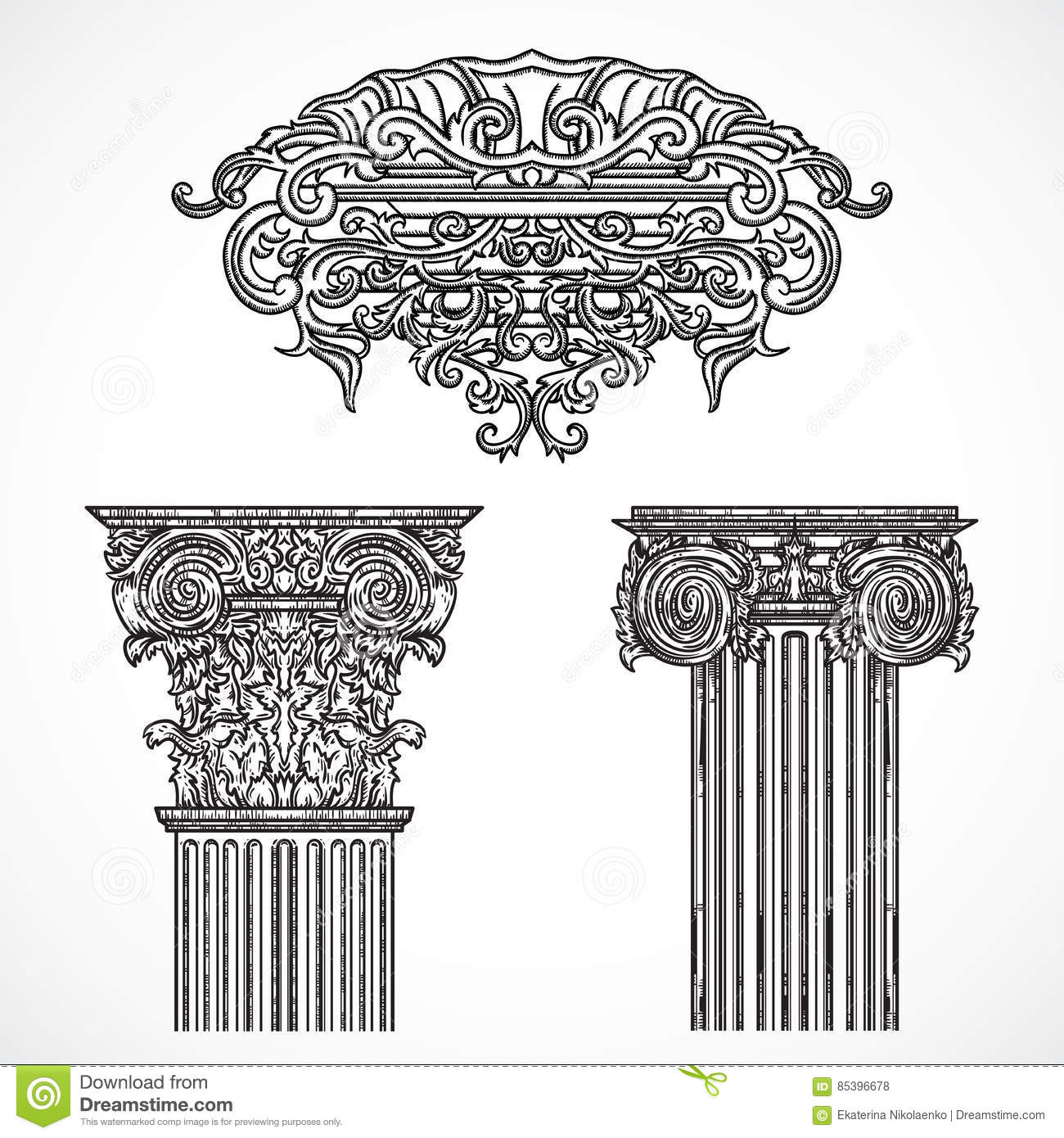 Vintage architectural details design elements antique for Baroque design elements