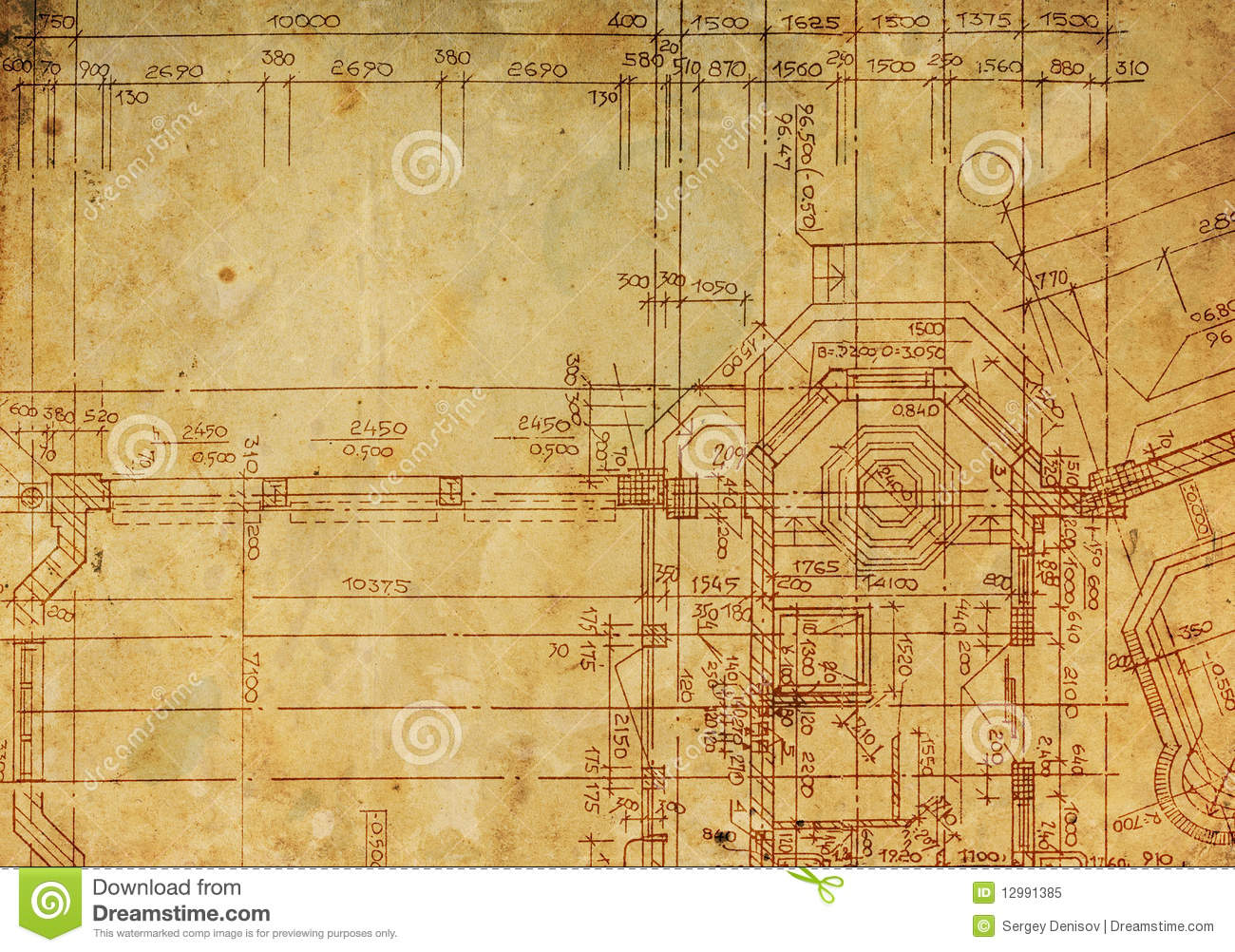 Vintage architectural drawing royalty free stock photo for Architecture antique