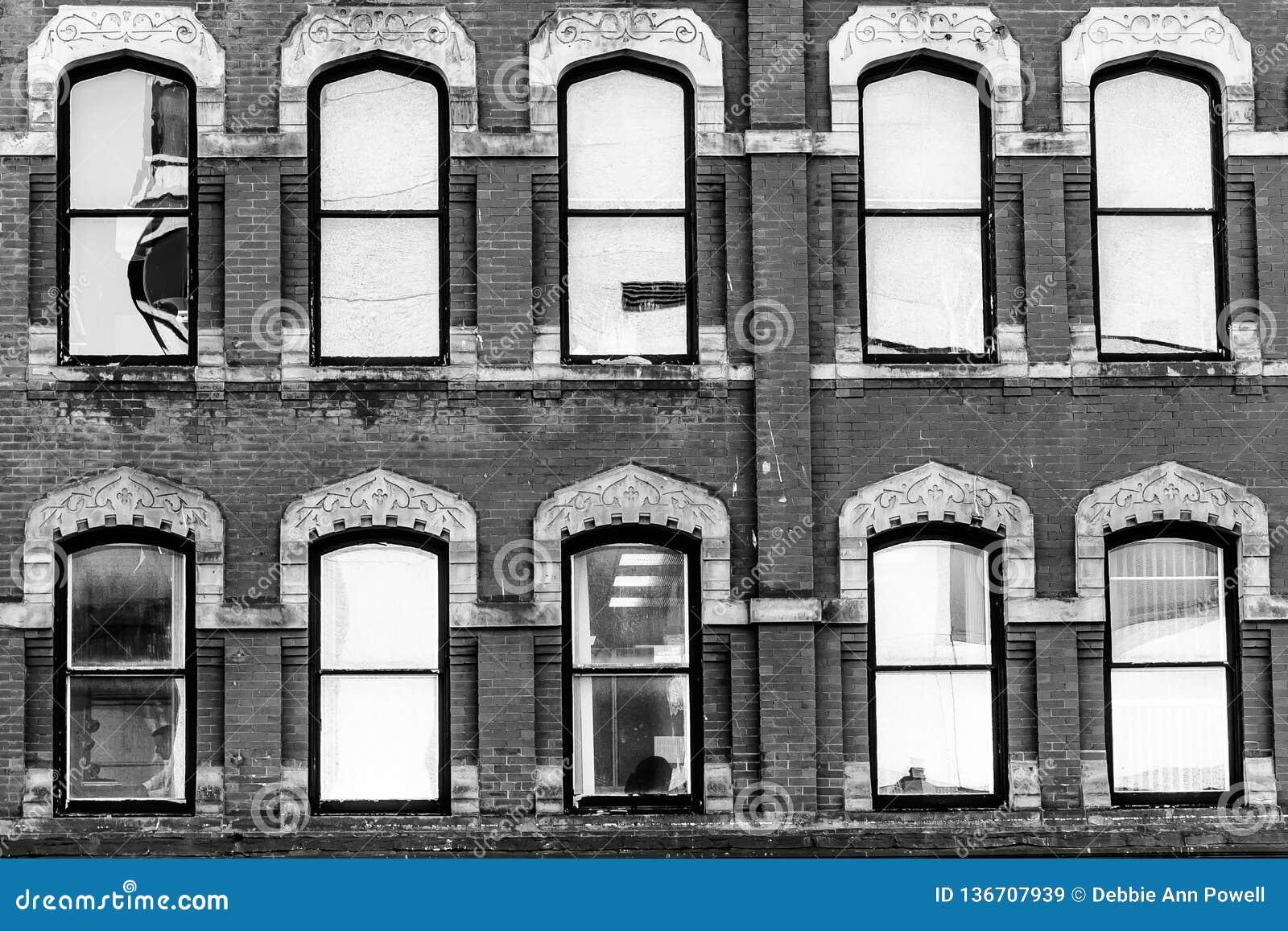 Vintage architecture design details on commercial building