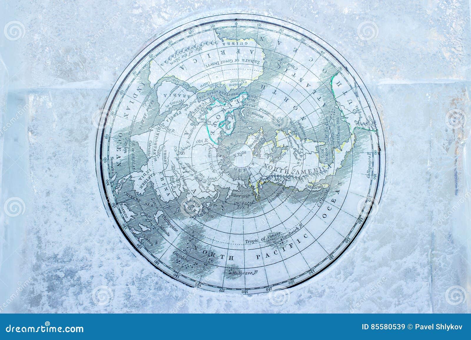 Vintage Arctic map on ice