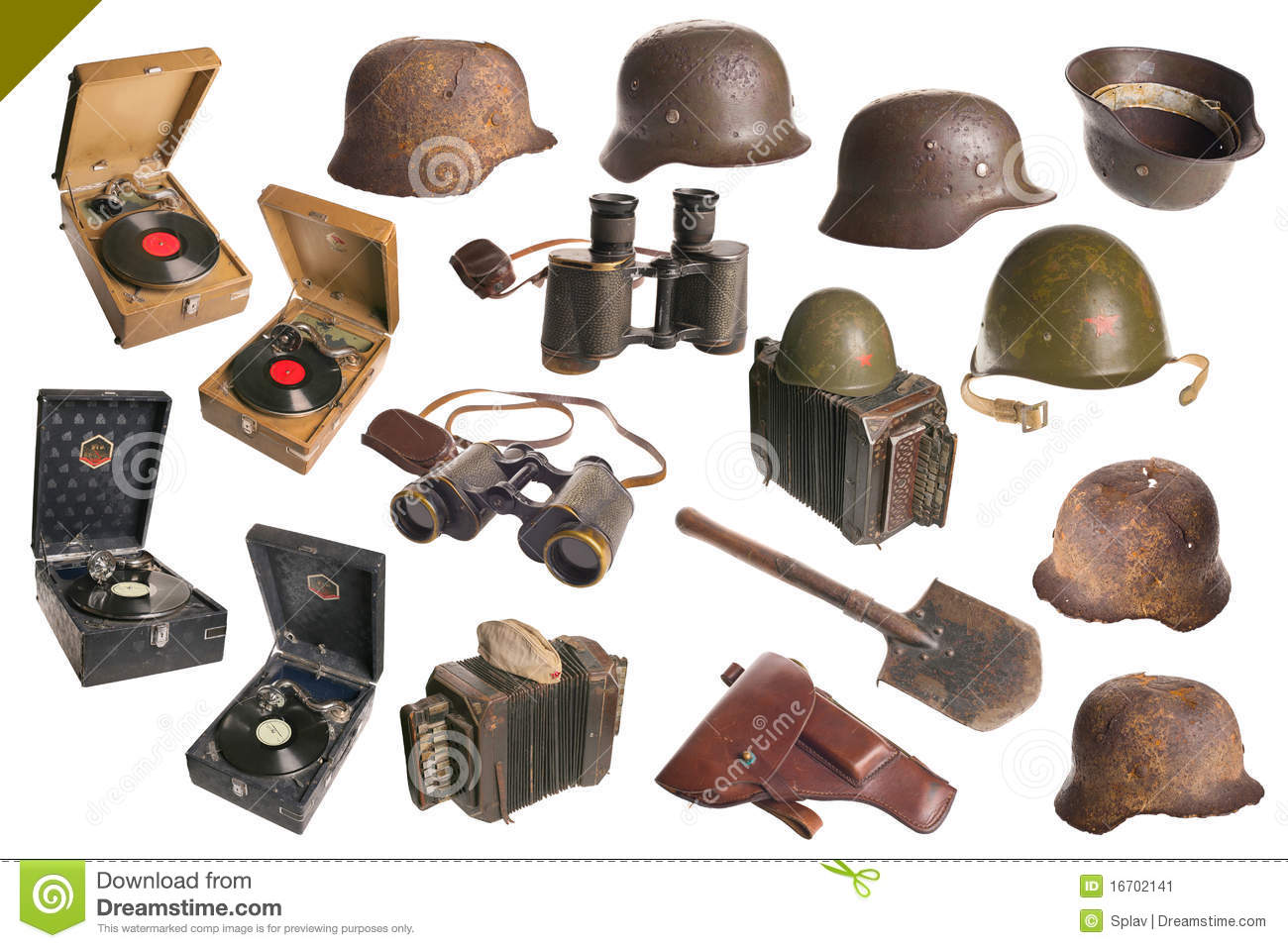 vintage army objects big set isolated stock image image 16702141. Black Bedroom Furniture Sets. Home Design Ideas