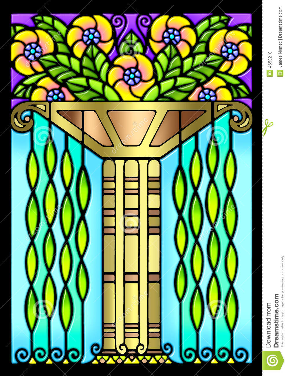 Hand Painted Art Deco Floral Design That Resembles A Stained Glass