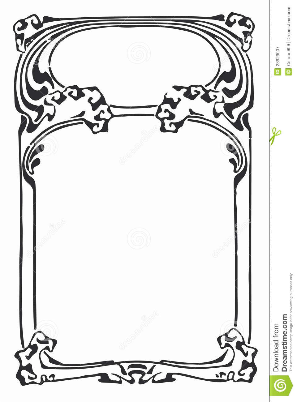 Line Art Border Design : Vintage art nouveau line scrapbook border stock