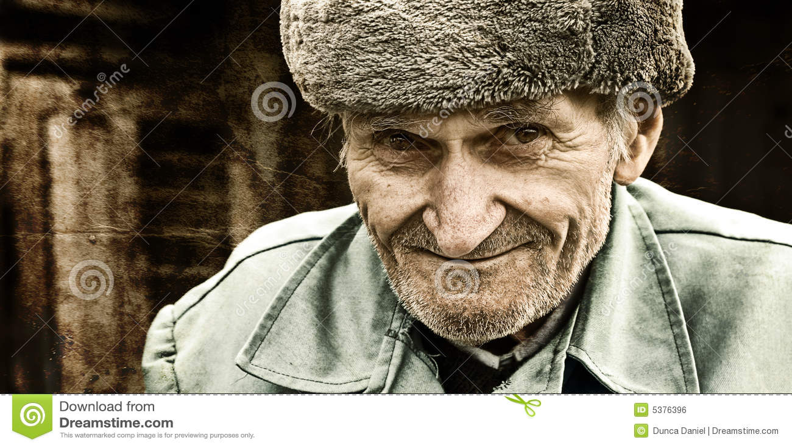 Vintage artistic portrait of one senior man