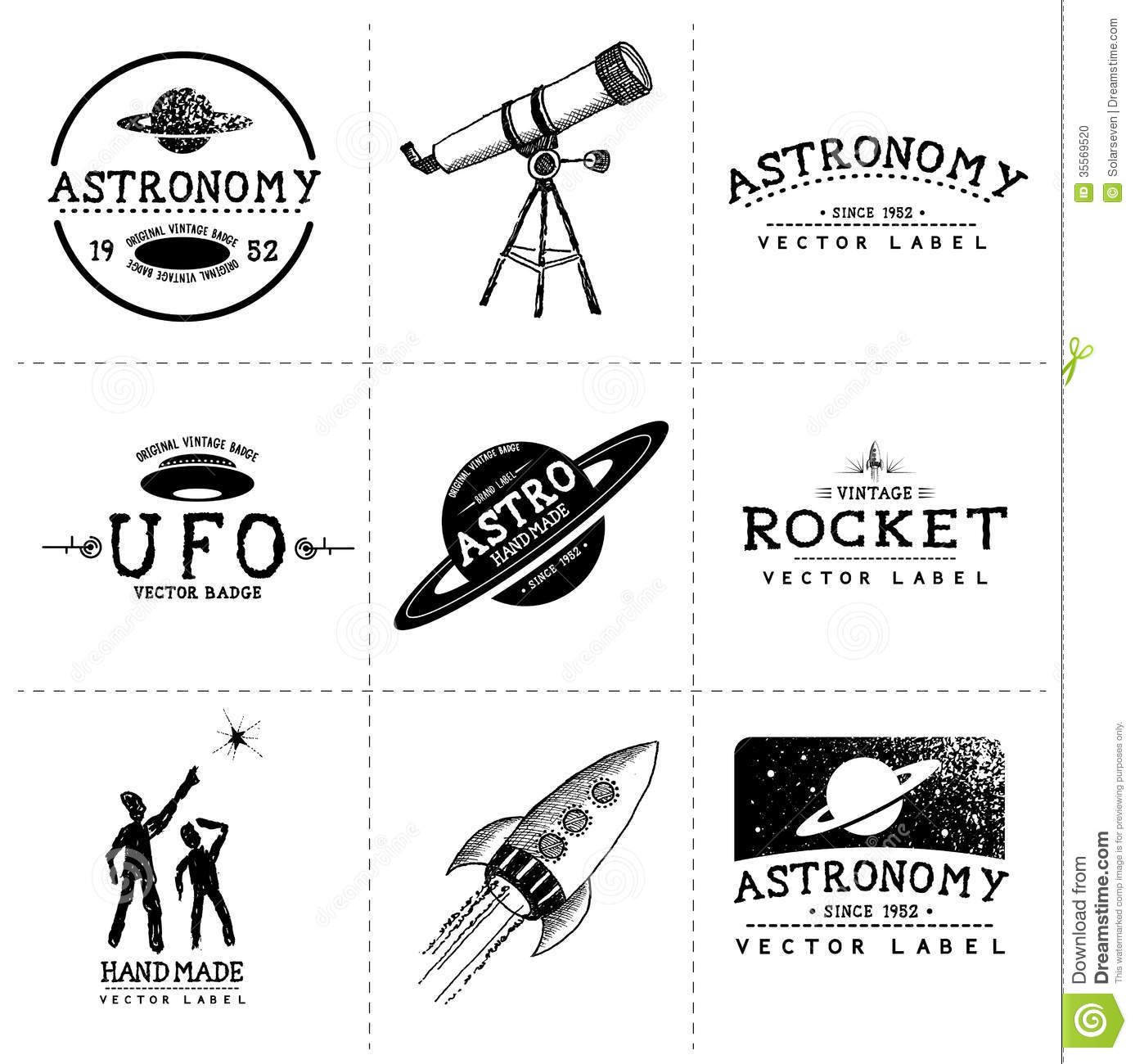 Vintage Astronomy Labels Layered Hand Crafted Vector And Badges Stock Photo