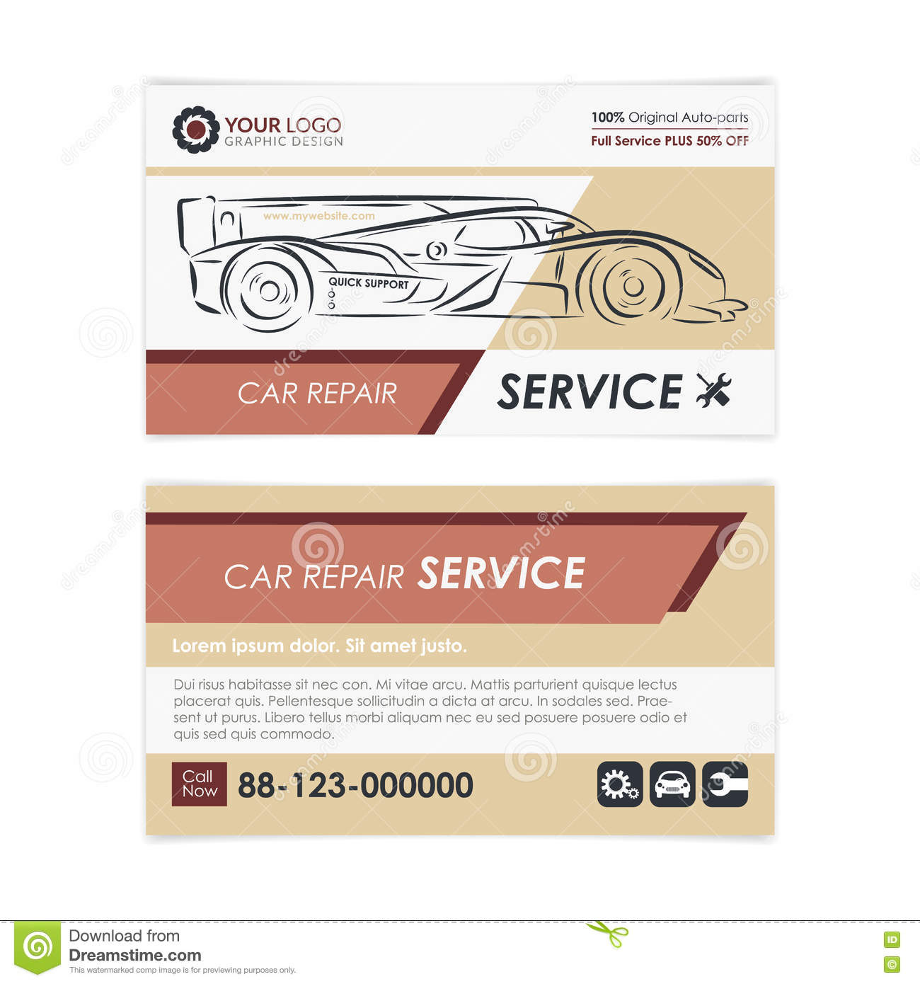 vintage auto repair business card template create your own business cards - Create Your Own Business Cards