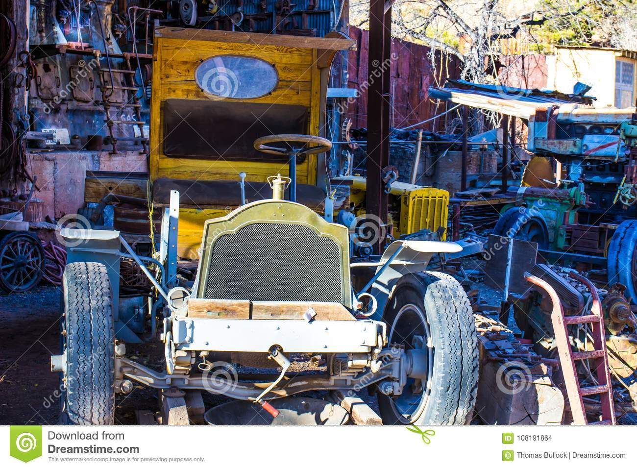 Vintage Auto Scrapped In Salvage Yard Stock Photo - Image of lean ...