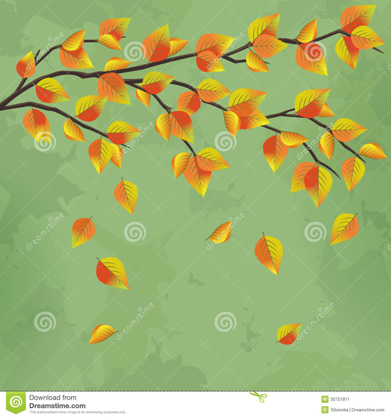 vintage autumn background with tree branch stock vector