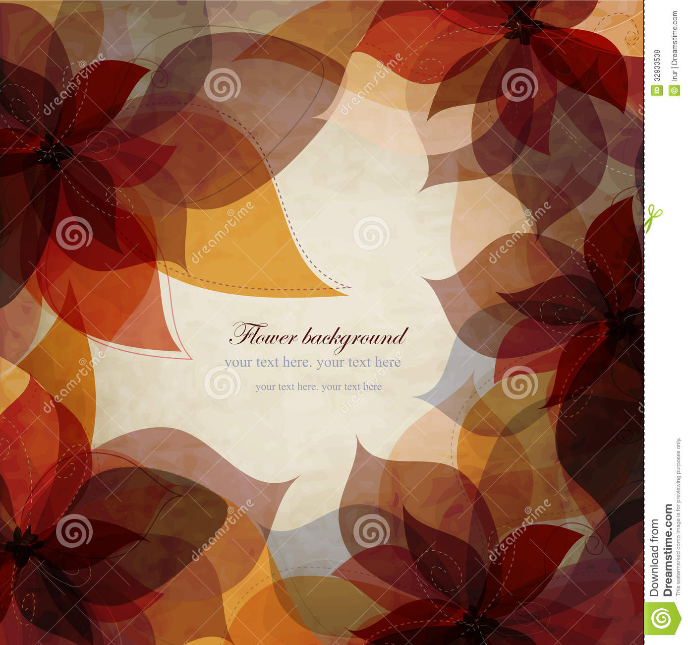 Vintage Autumn Floral Background Card With Brown Stock Vector