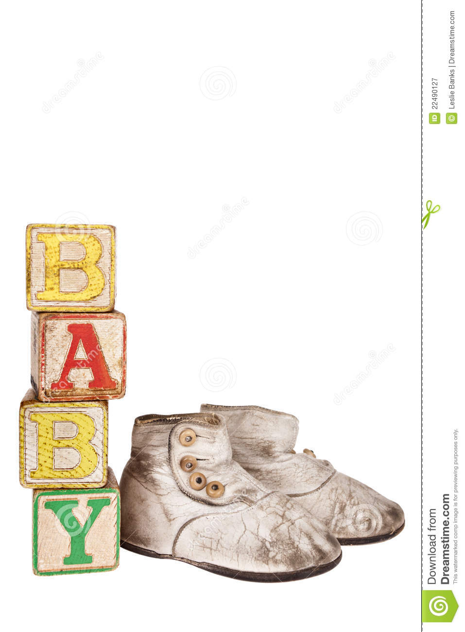 Vintage Baby Blocks And Booties Stock Illustration