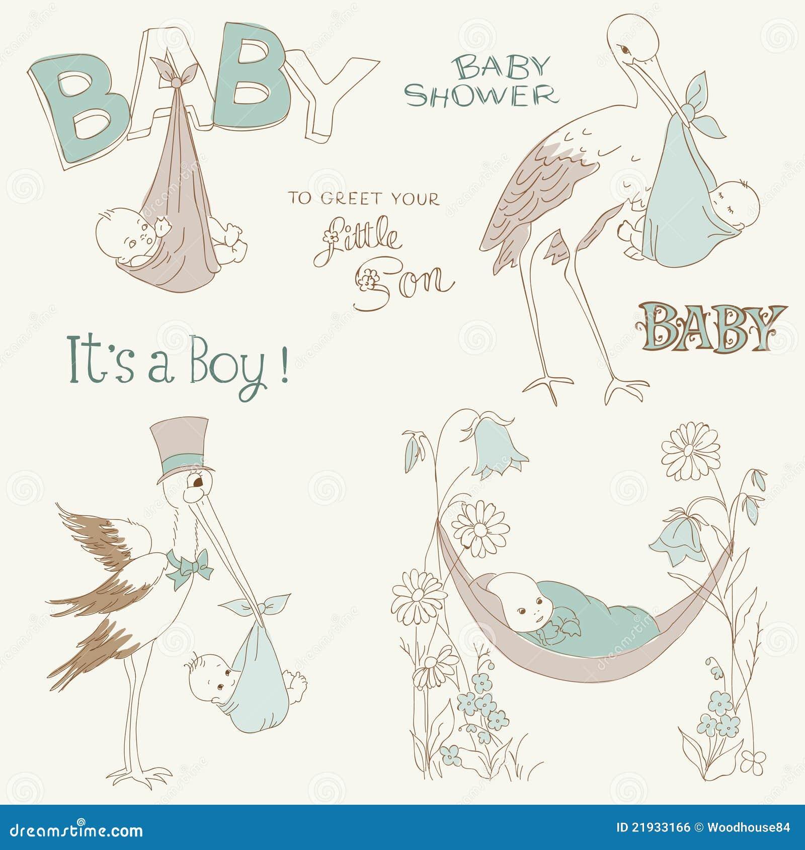 Vintage Baby Boy Shower and Arrival Doodles Set
