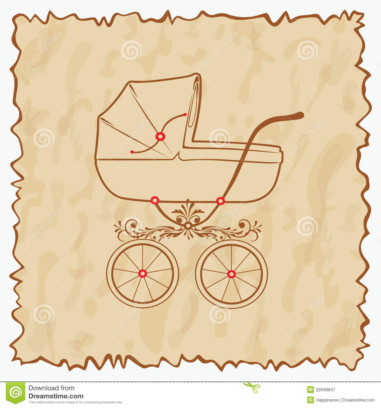 Vintage baby carriage for girls and boys. Vector illustration eps.10 ...