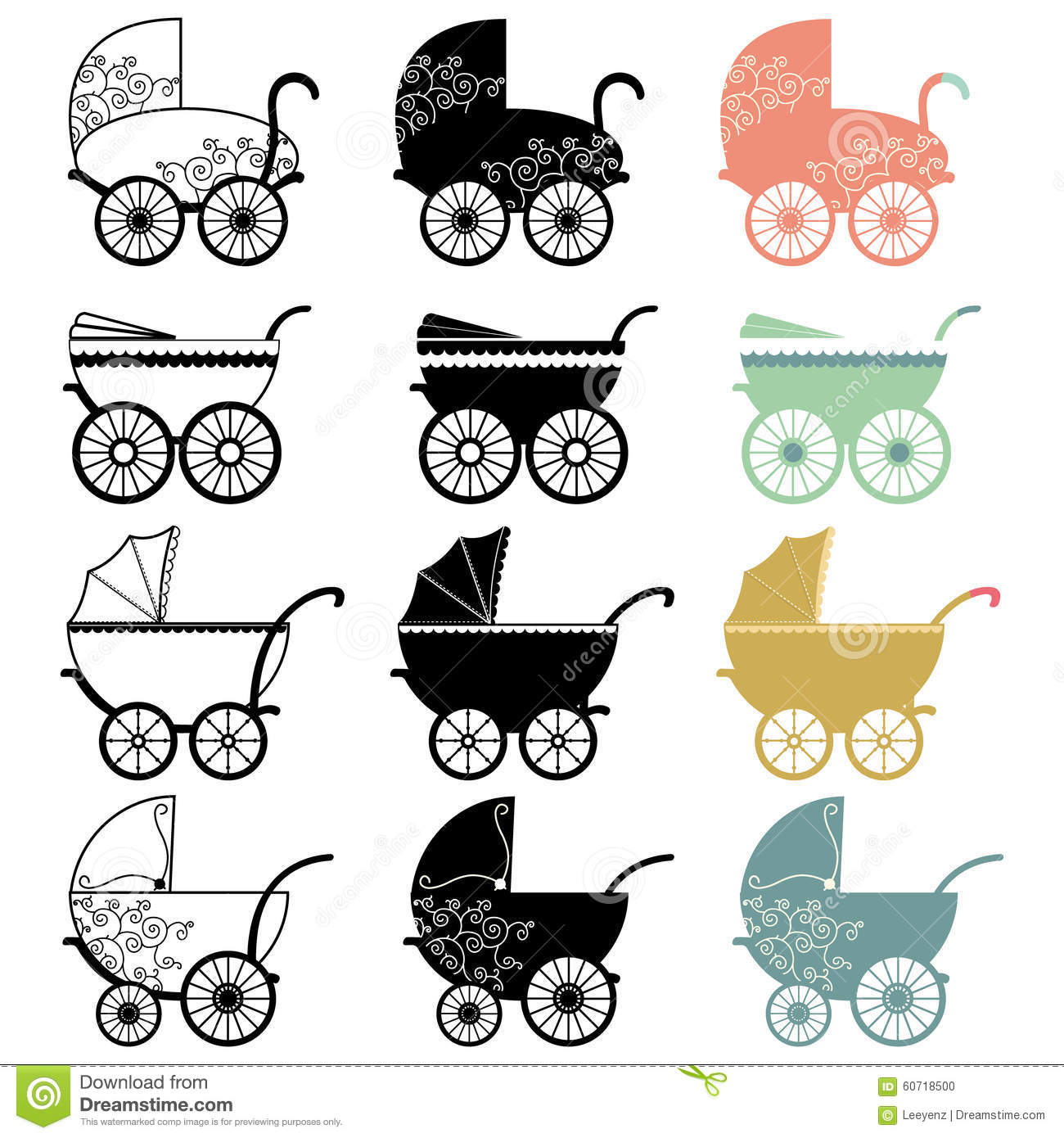 Vintage Baby Carriage Stock Vector - Image: 60718500