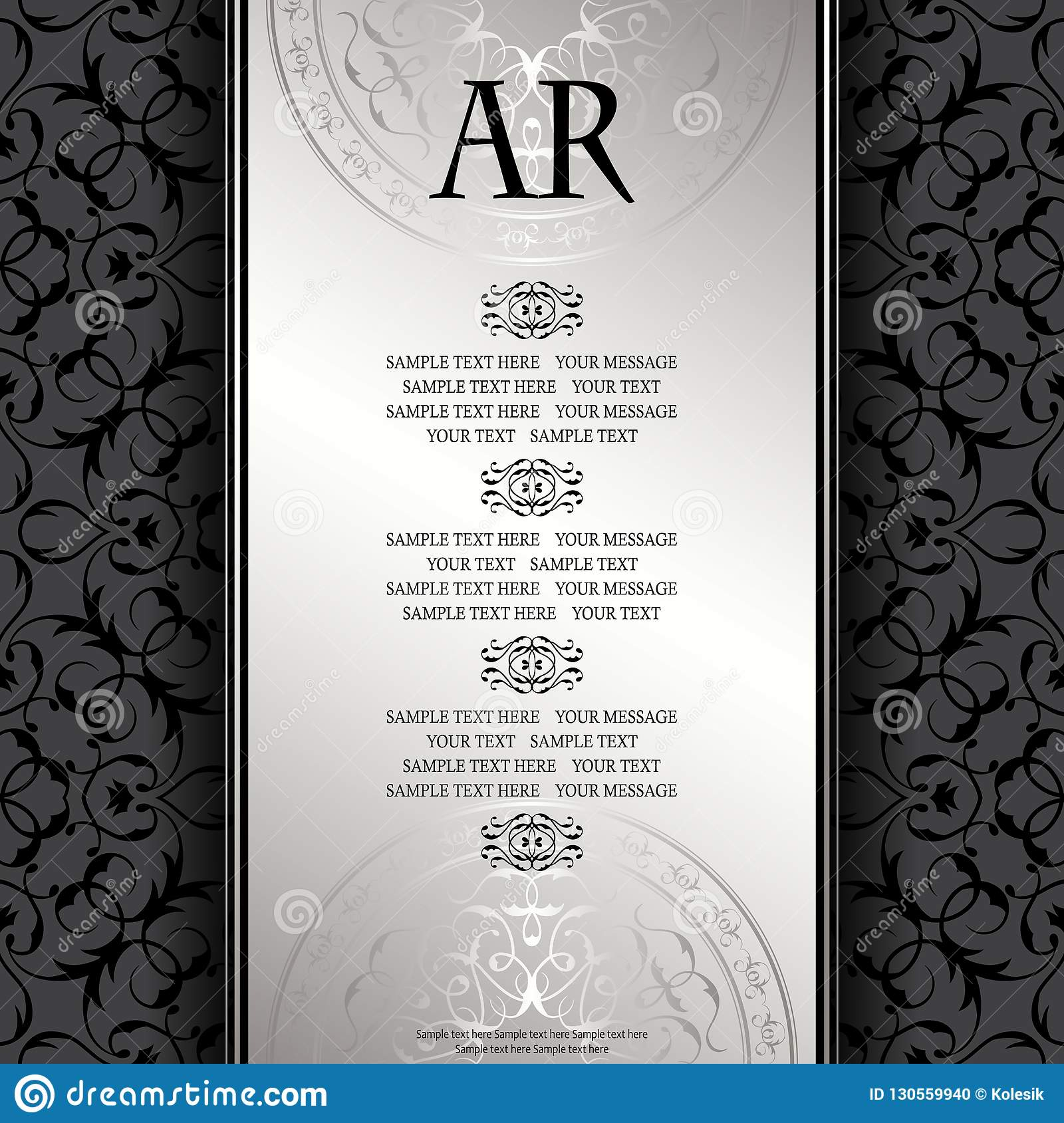 85e074e7ae0 Royalty-Free Vector. Vintage background with antique luxury silver frame