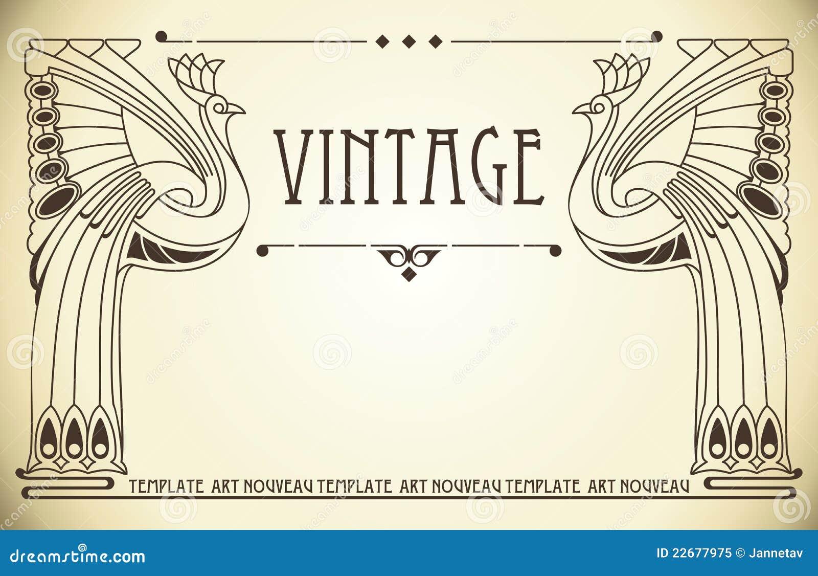 Deco Jugendstil vintage background in nouveau stock vector illustration of