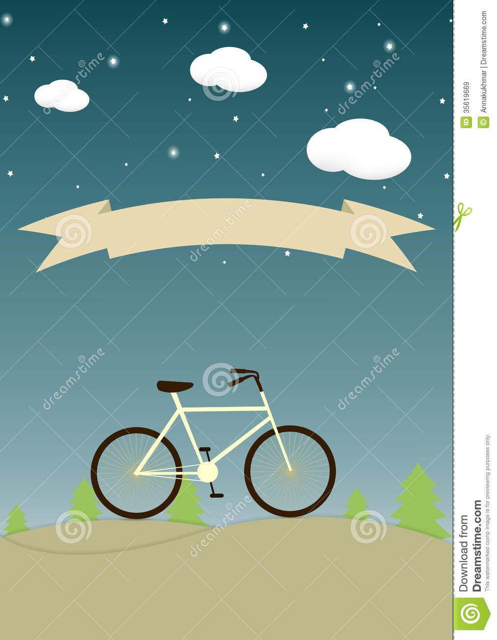Vintage Background With Bicycle And Place For Your Royalty ...