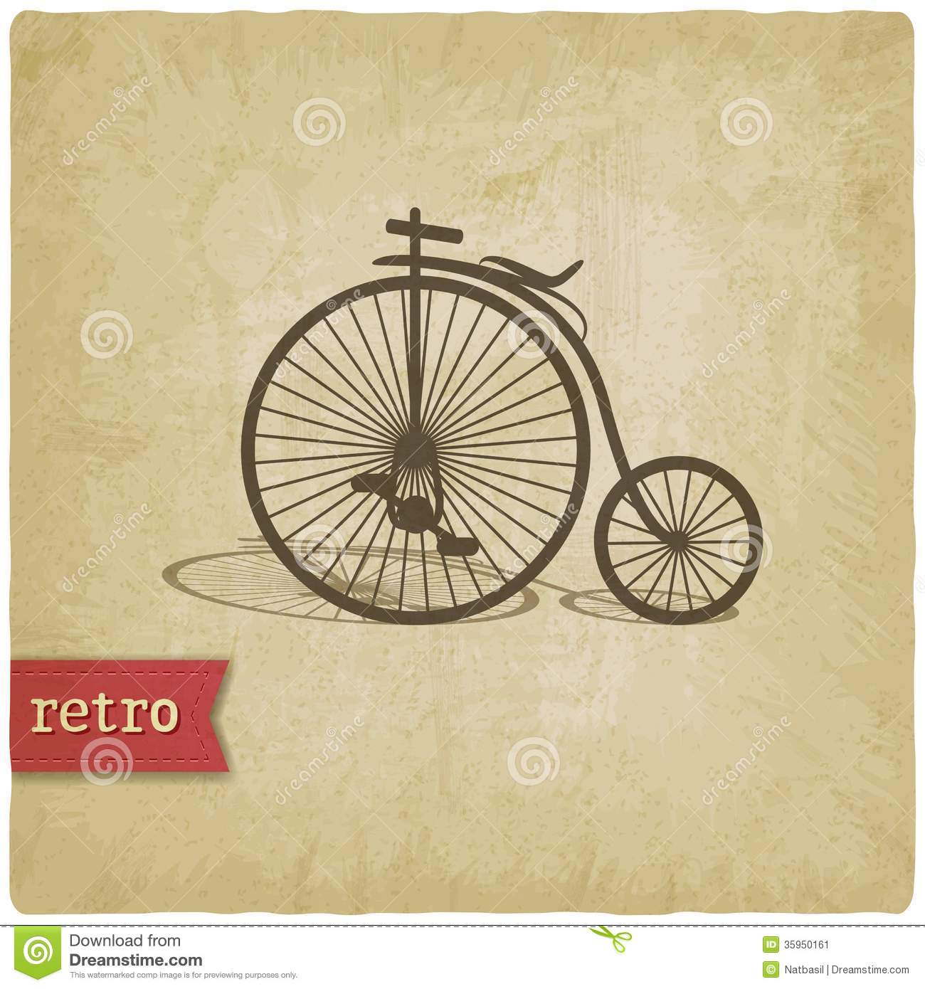 Vintage Background With Bicycle Stock Vector - Image: 35950161