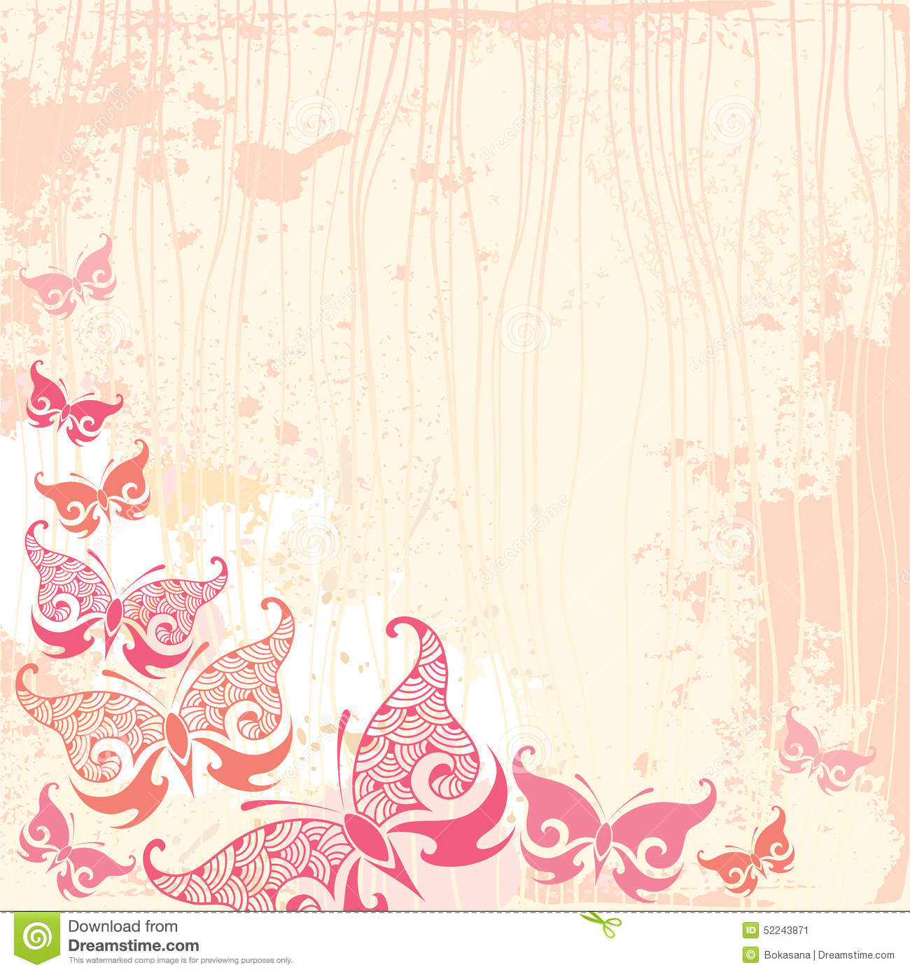 Pink vintage butterfly background - photo#2