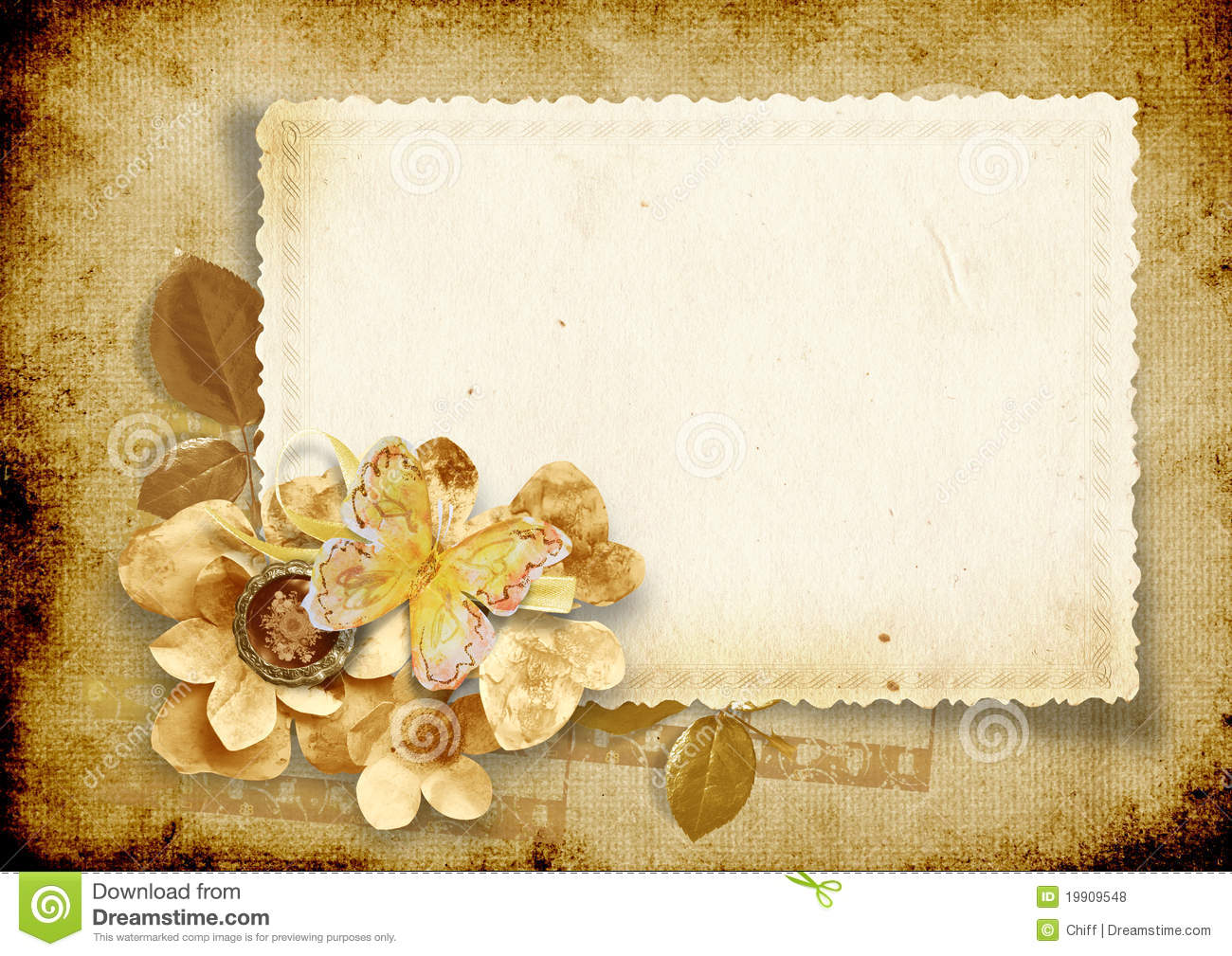 vintage background with card and paper flowers royalty