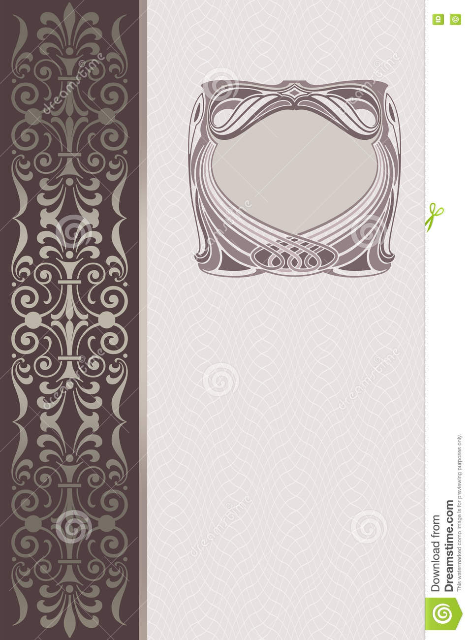 Old Fashioned Book Cover Design : Decorative background with ornamental border and frame