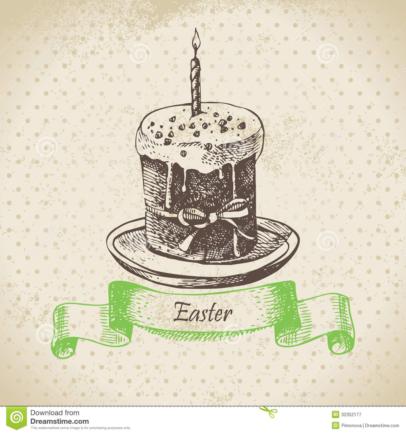 Vintage Background With Easter Cake Royalty Free Stock ...