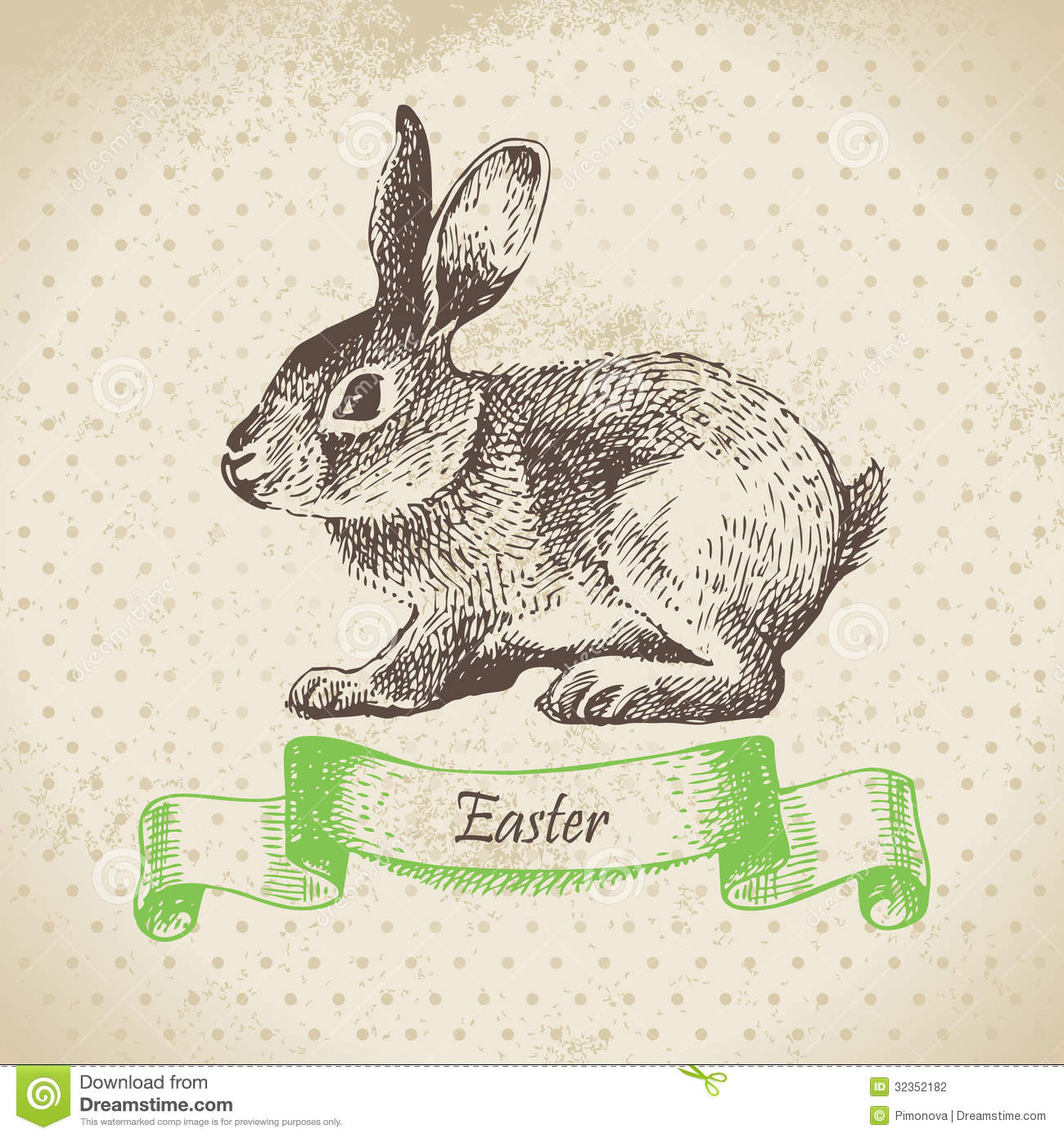 Easter Bunny Line Drawing : Vintage background with easter rabbit stock vector image