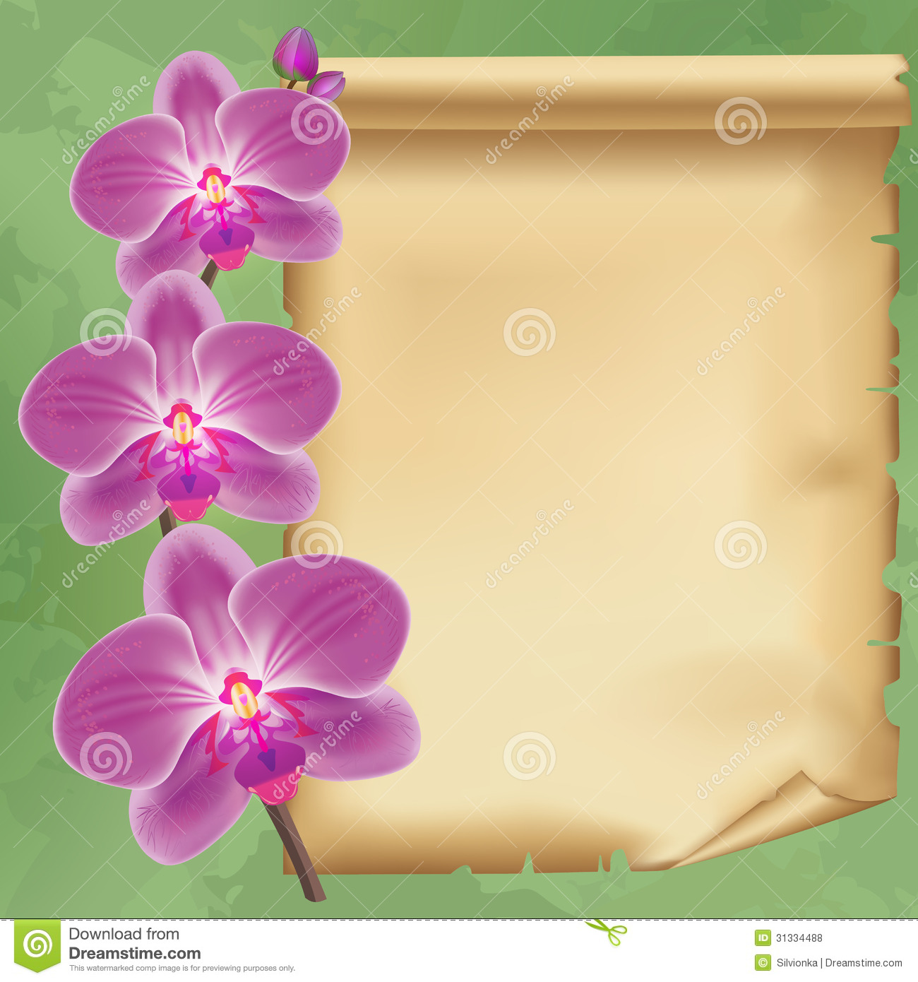Vintage Background With Flower Orchid And Paper Stock Vector