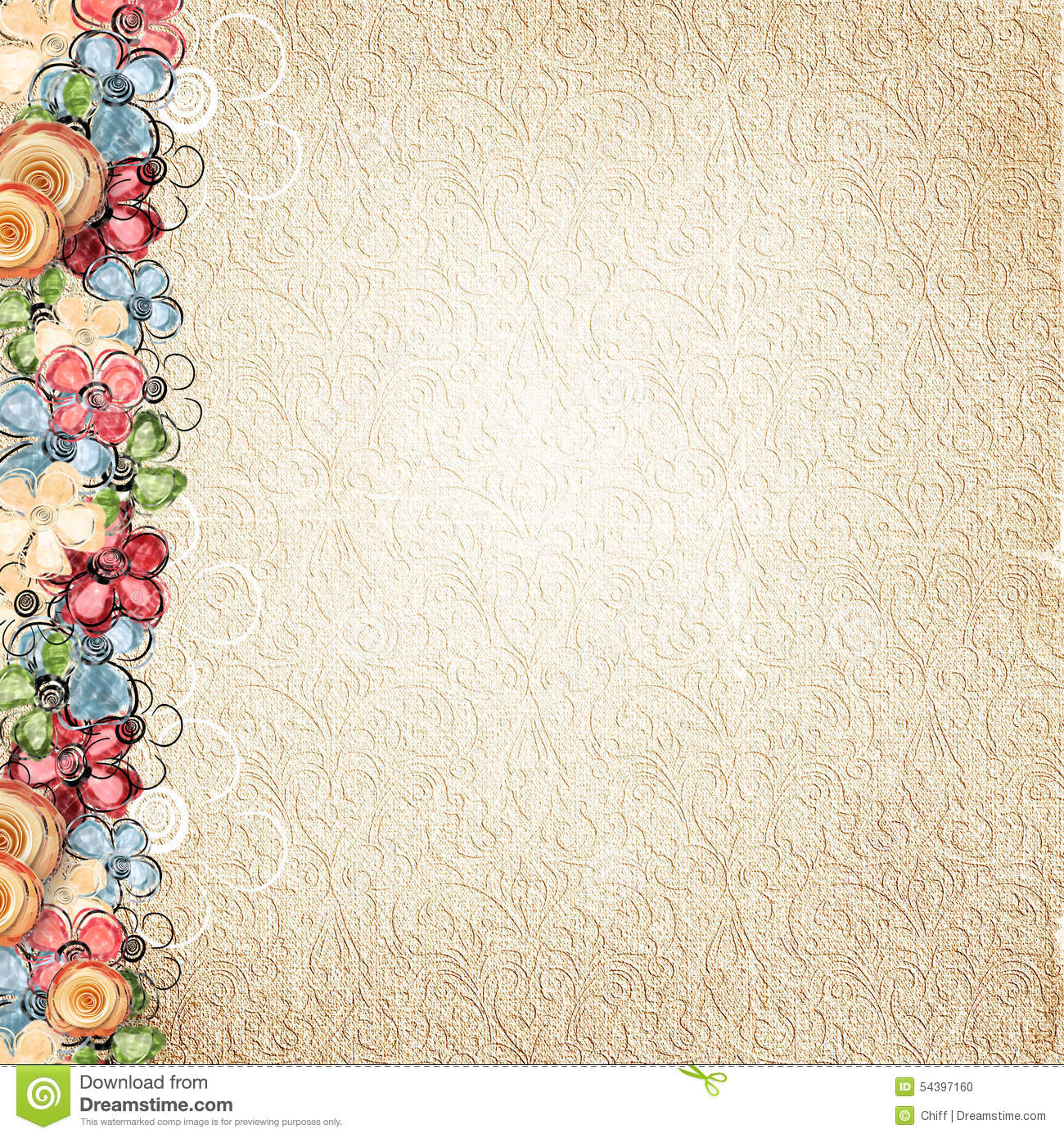 Vintage Flower Book Cover : Vintage background with flowers border stock photo image