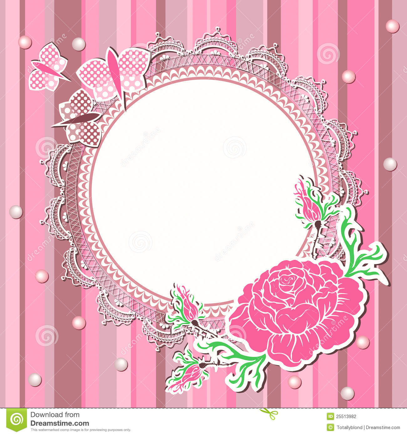 Vintage Background With Flowers And Lace Frame Stock