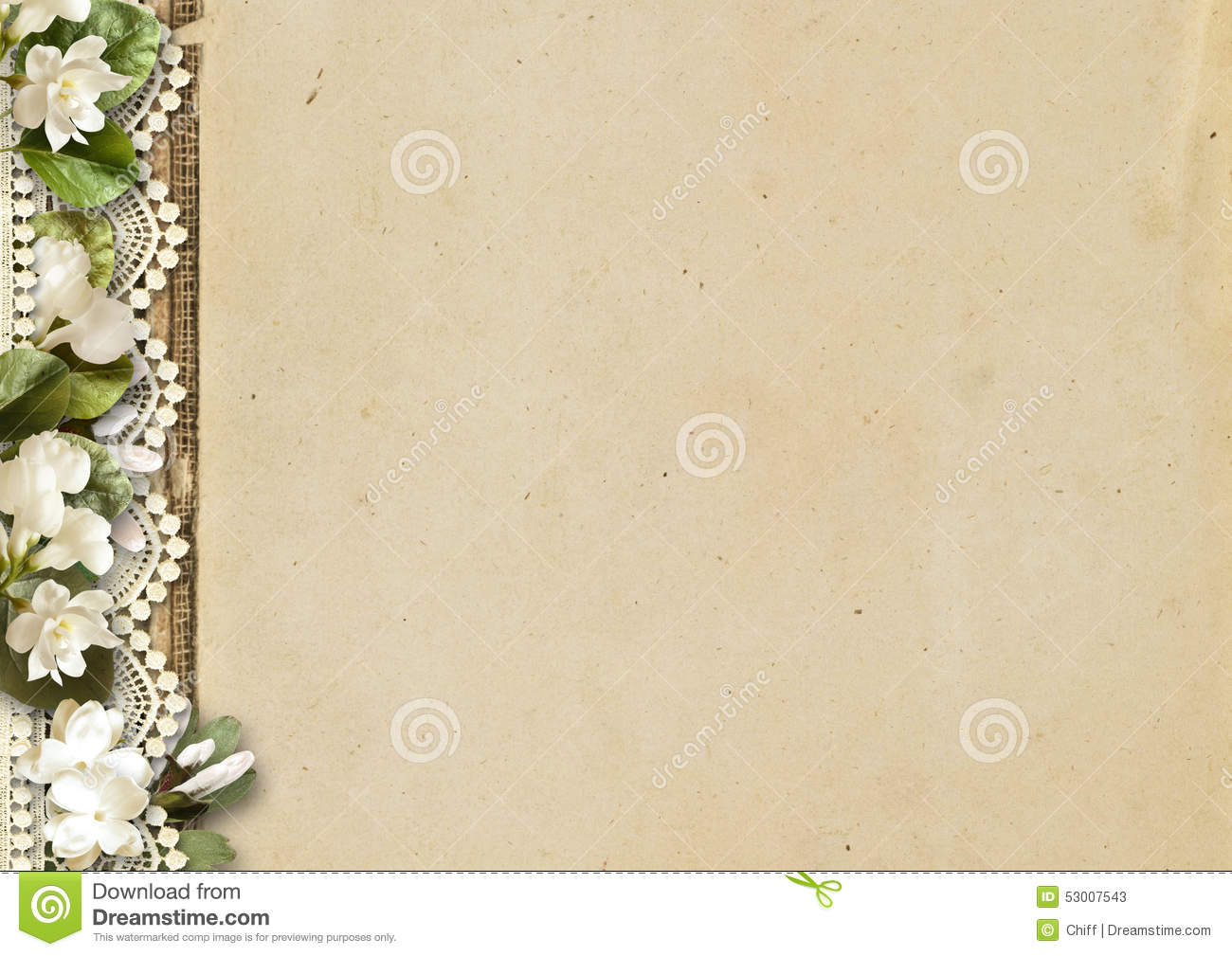 Book Cover Page Background ~ Vintage background with flowers and lace tender blossom