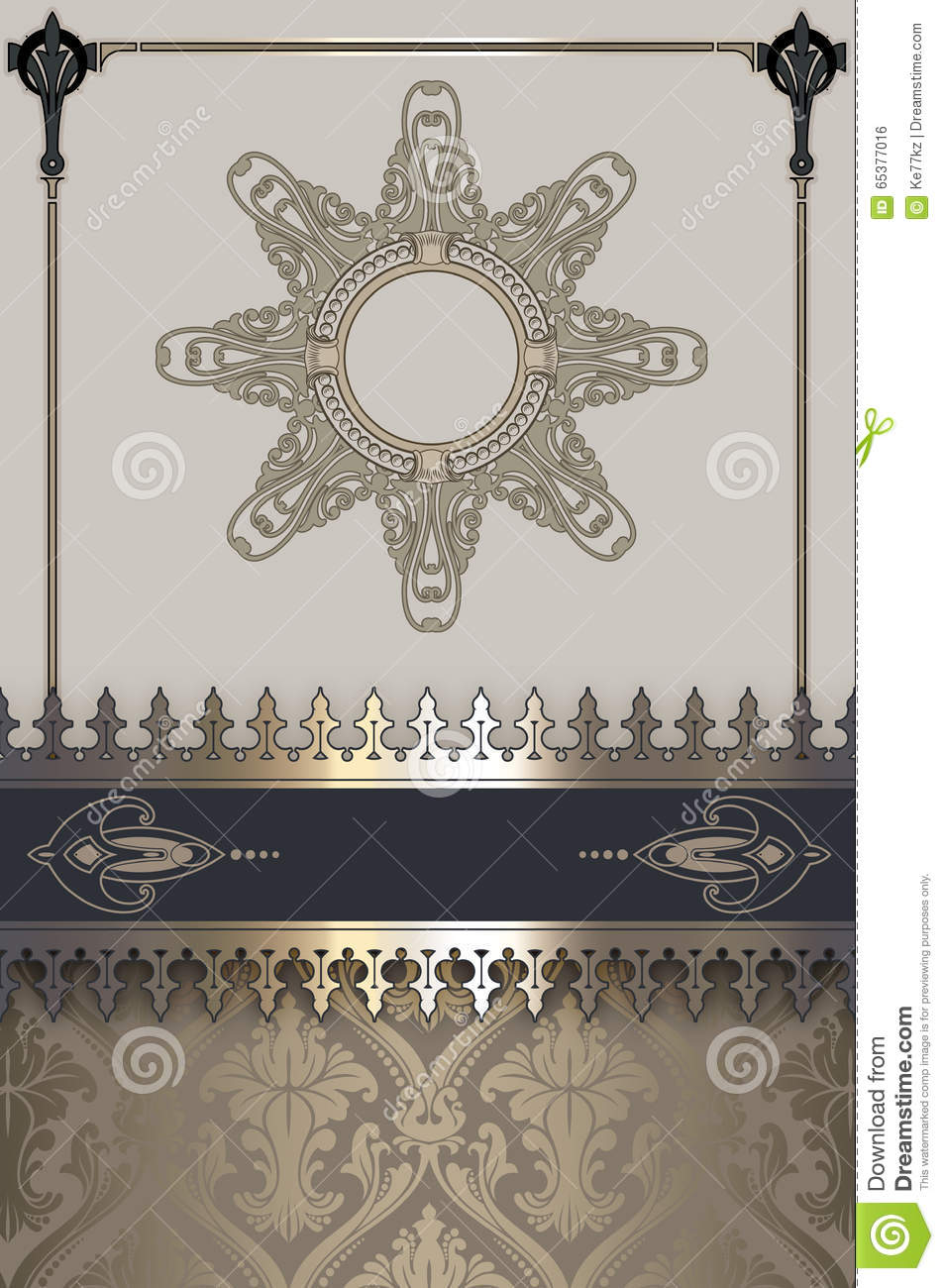 Vintage Decorative Book Cover : Vintage background with frame and decorative border stock