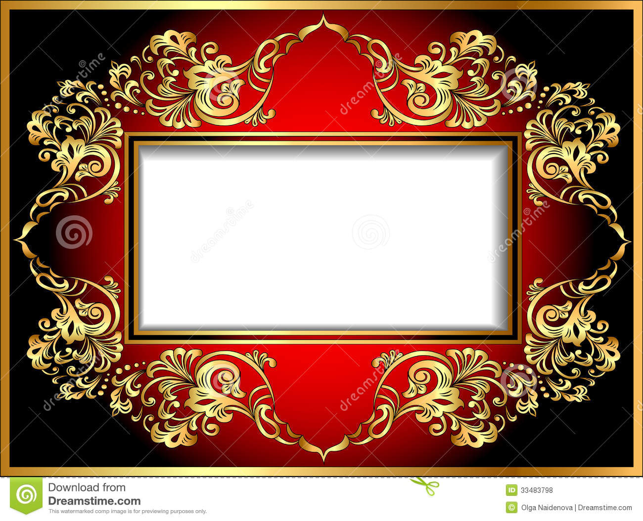 Vintage Background Frame With Gold Ornaments Stock Vector