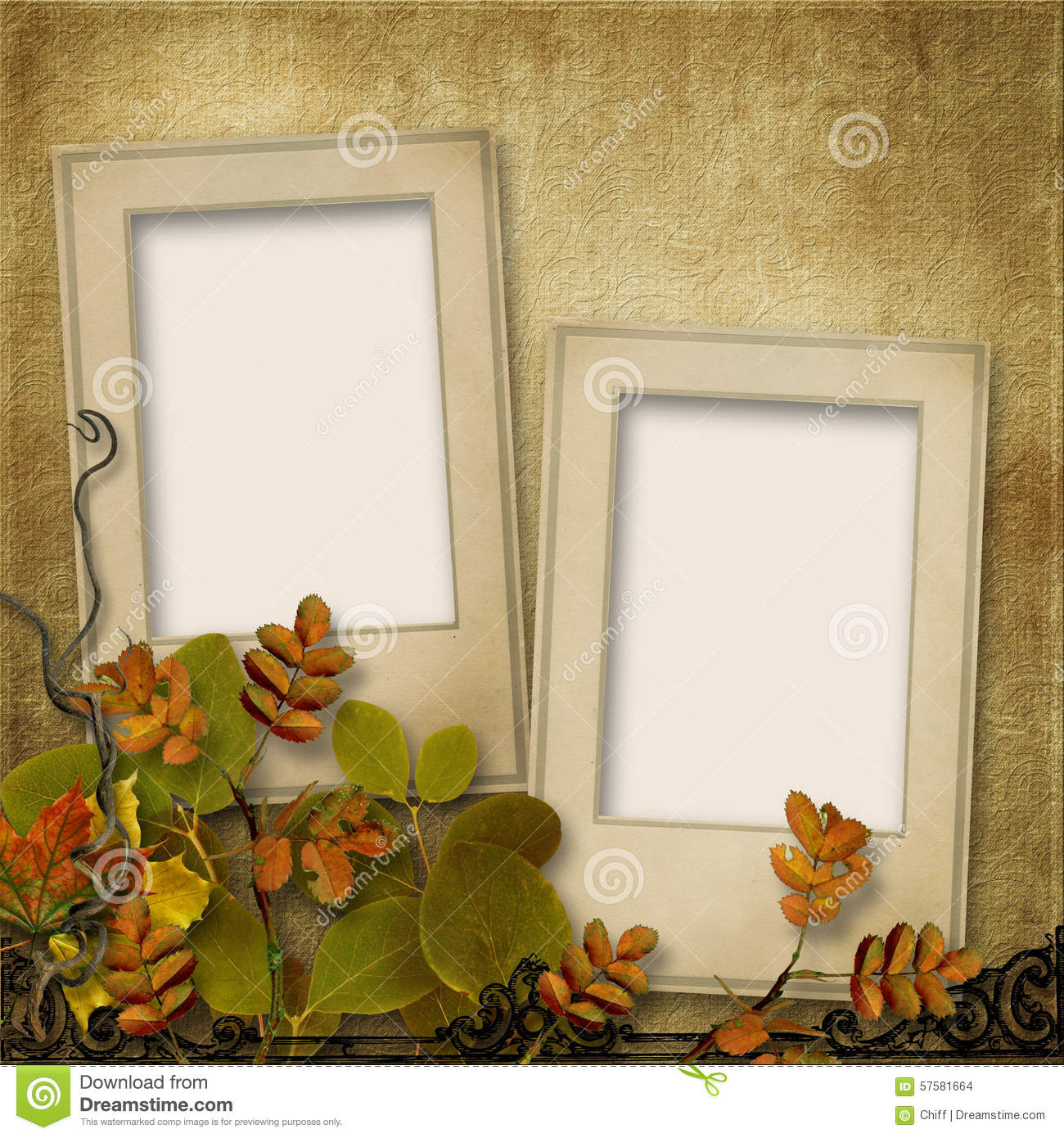 Vintage background with frame for photo and autumn leaves stock photo image of fall beautiful - Marco de fotos multiple ...