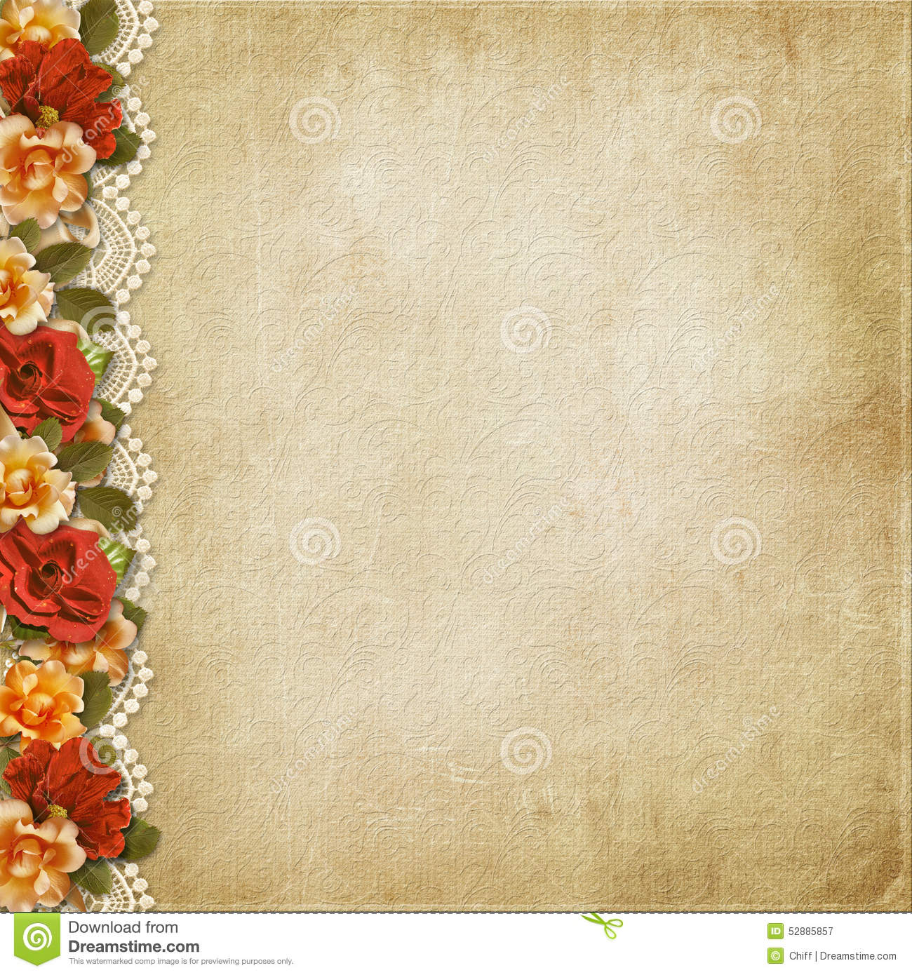 Vintage Flower Book Cover : Vintage background with a border of flowers and lace stock