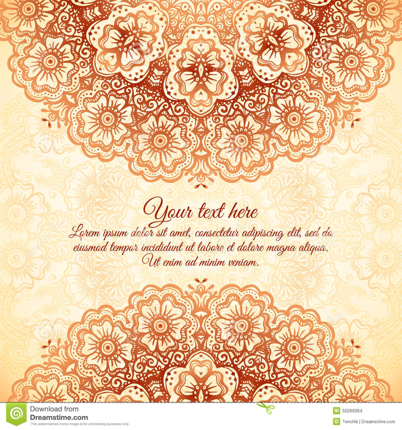 Ornate vintage vector background in mehndi style royalty free stock - Royalty Free Vector Download Vintage Background In Indian Mehndi Style Stock