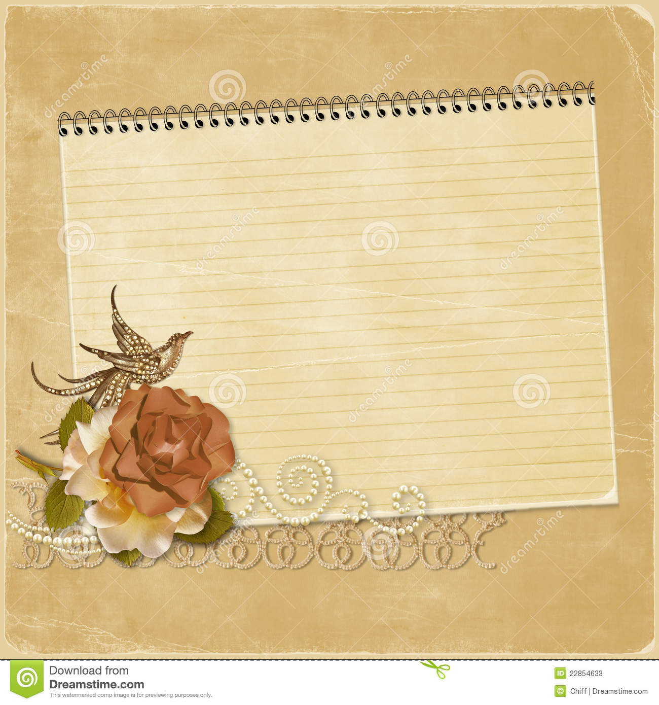 Vintage Background With A Notebook And A Rose With Stock ...
