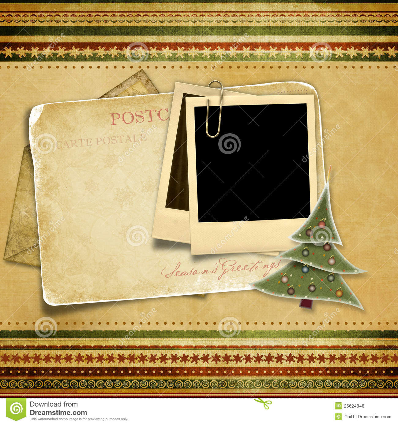 Vintage Background With Old Christmas Card Stock Photo