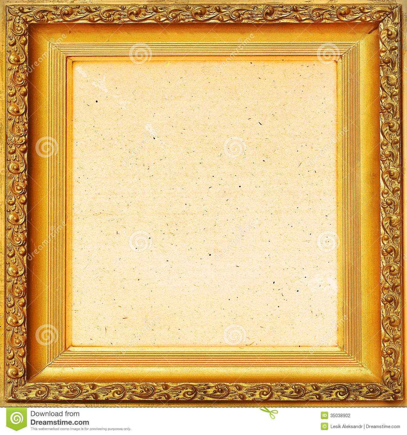Vintage Background Old Frame, Gold Leaf Stock Photo - Image of ...