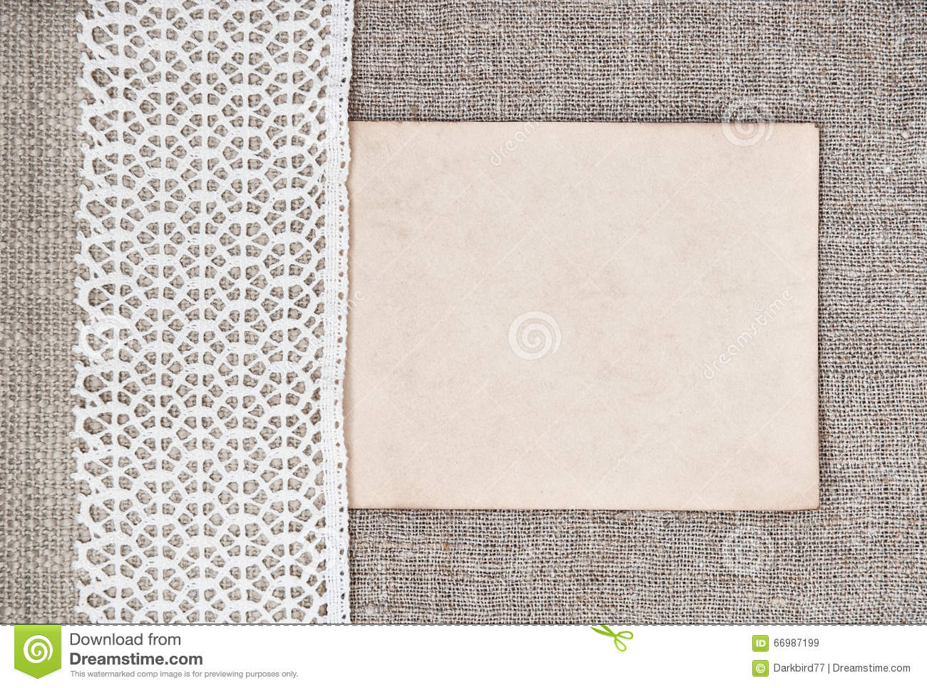 Vintage Background With Old Paper On Lace Fabric And Burlap Stock