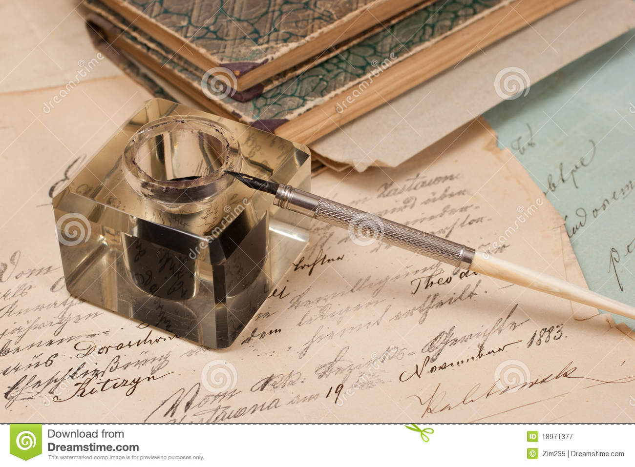 Free Ink Pens Paper Background Ink And Pen Stock Photography Image 7040222