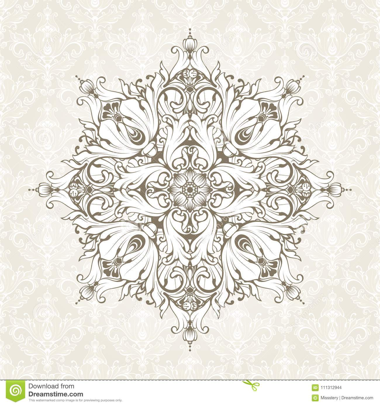 Vintage Background With Pattern. Ornate Lace Template For Invitation ...