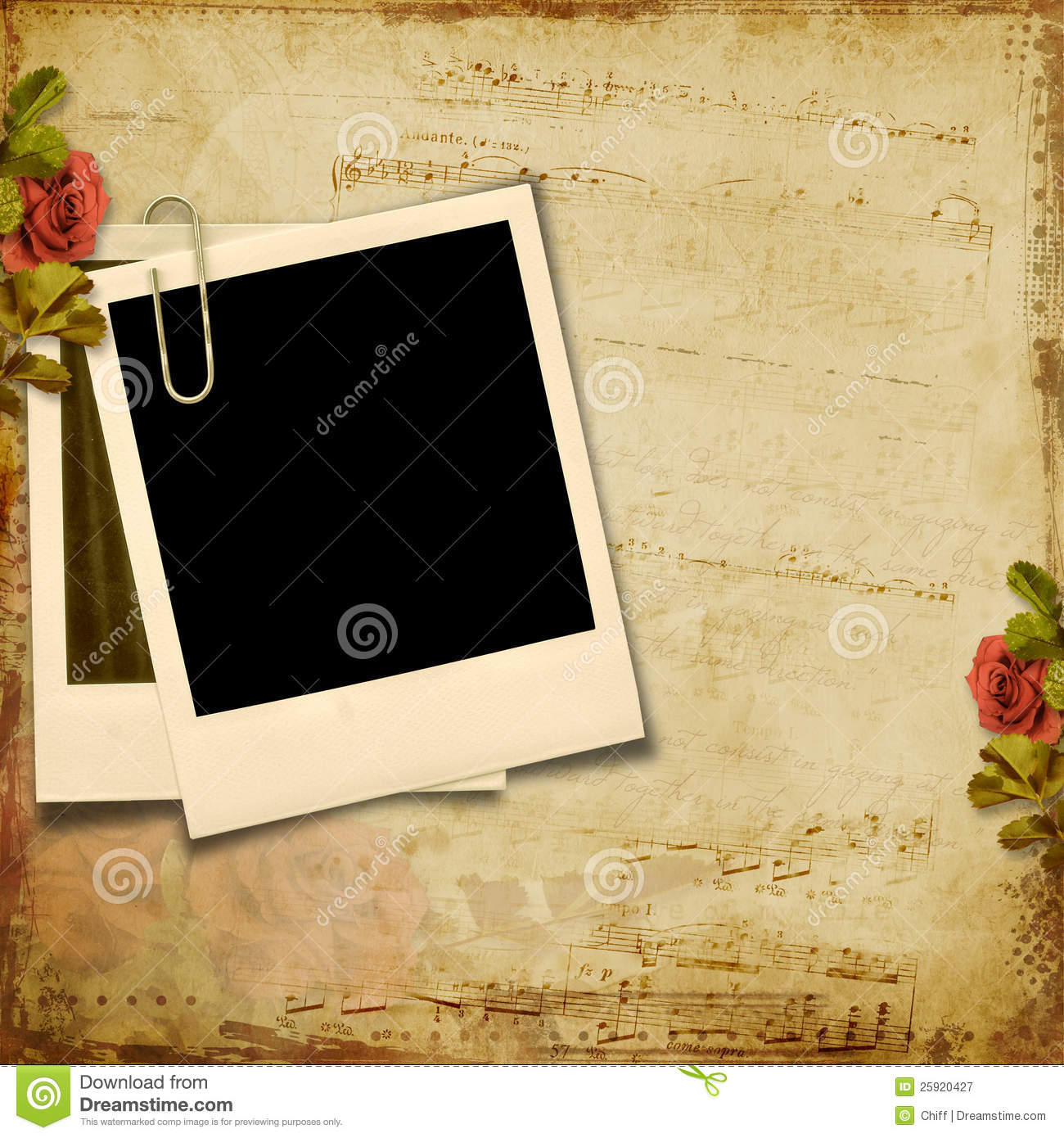 vintage background with polaroid frame royalty free stock