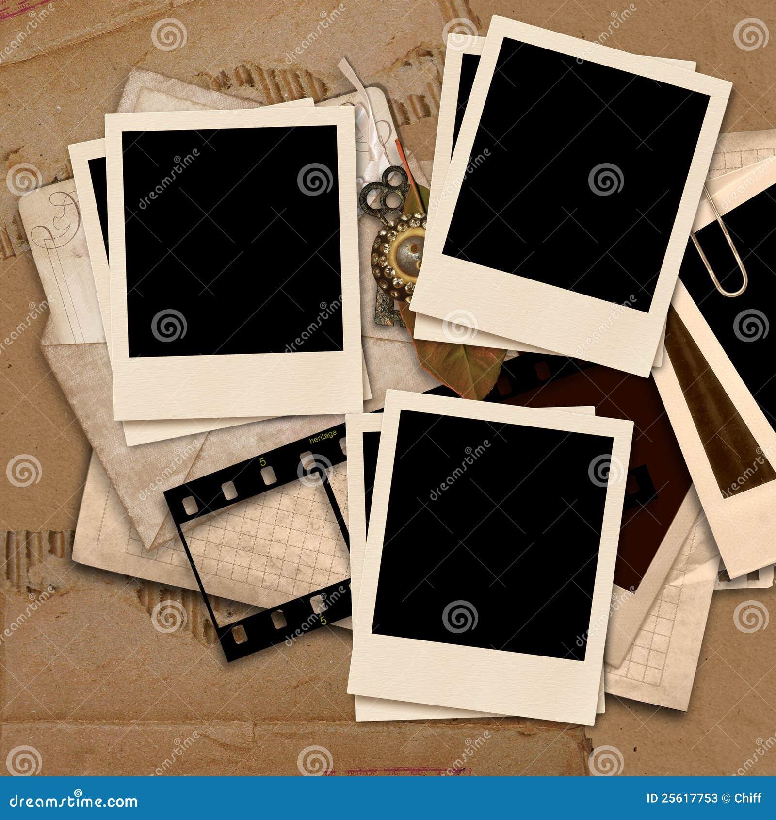 vintage background with polaroid frames stock illustration