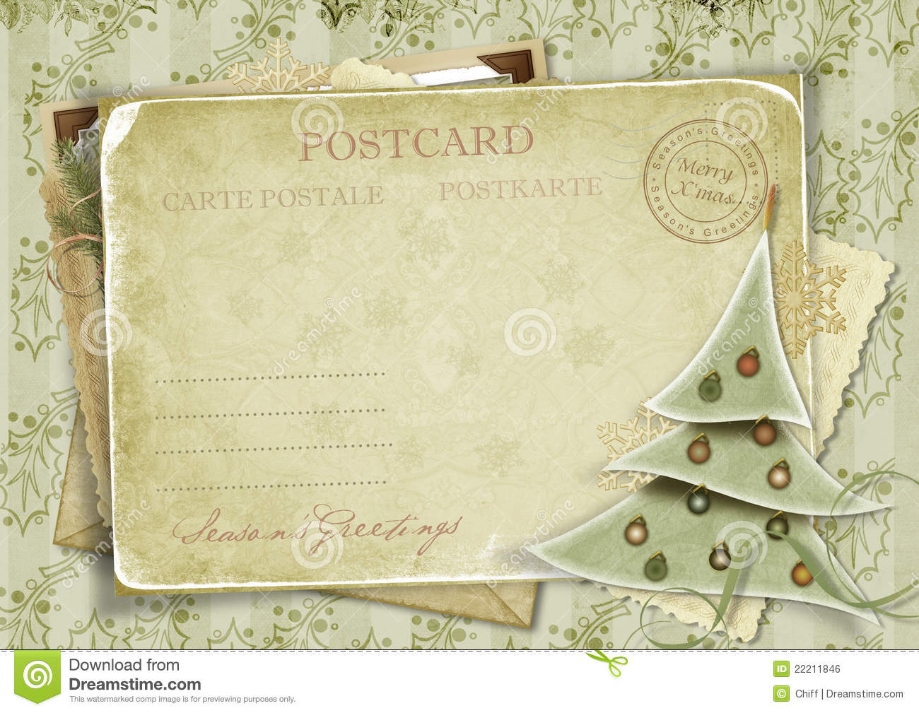 Vintage Background With Postcard And Christmas Tr Stock