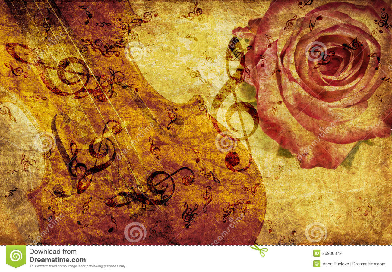 Tune Up Prices >> Vintage Background With Rose And Notes Stock Illustration - Image: 26930372