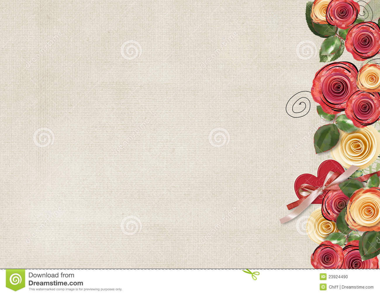 Vintage Background With Roses For Congratulations Stock Photo - Image ...