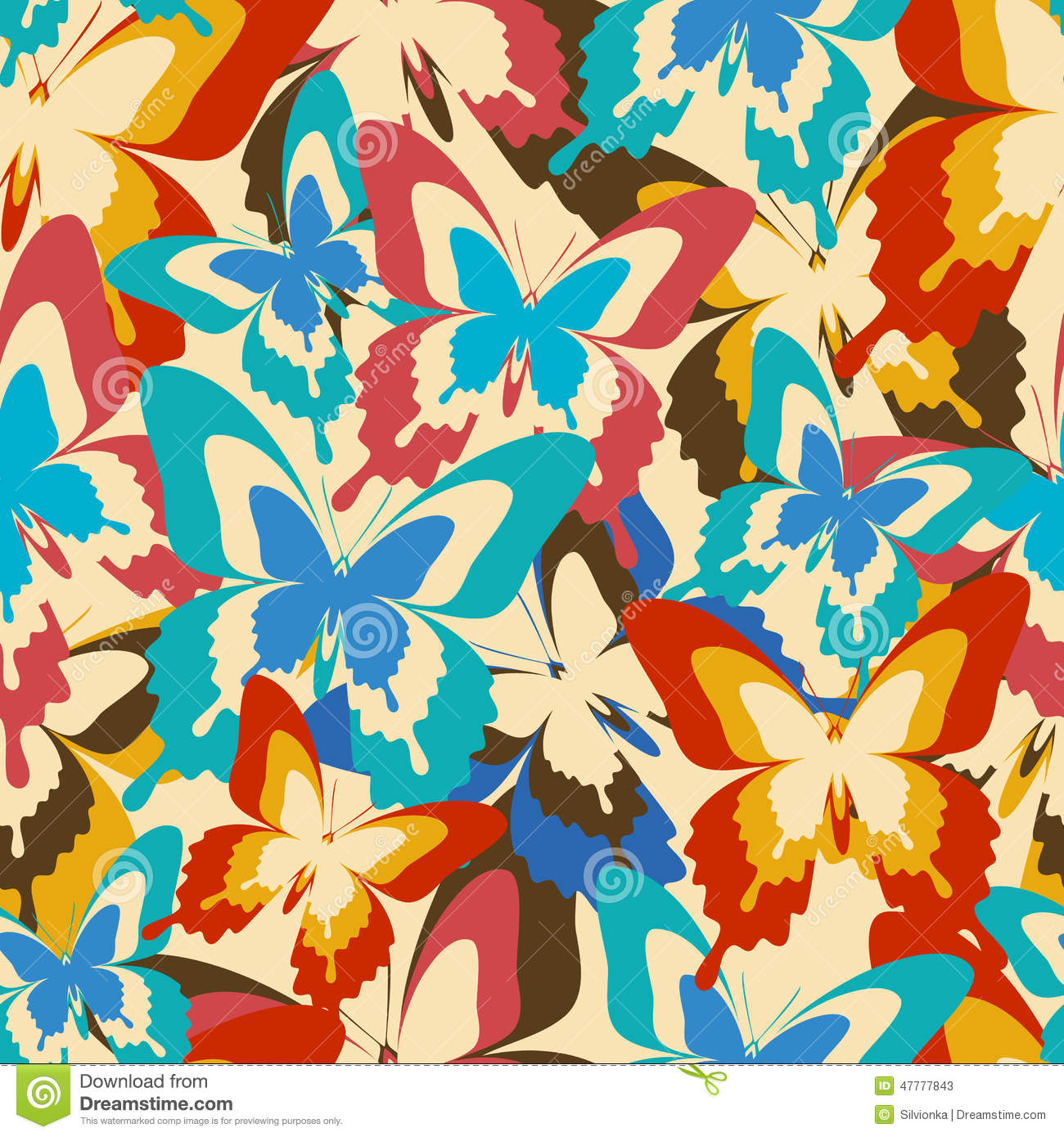Vintage Background Seamless Pattern With Colorful ...