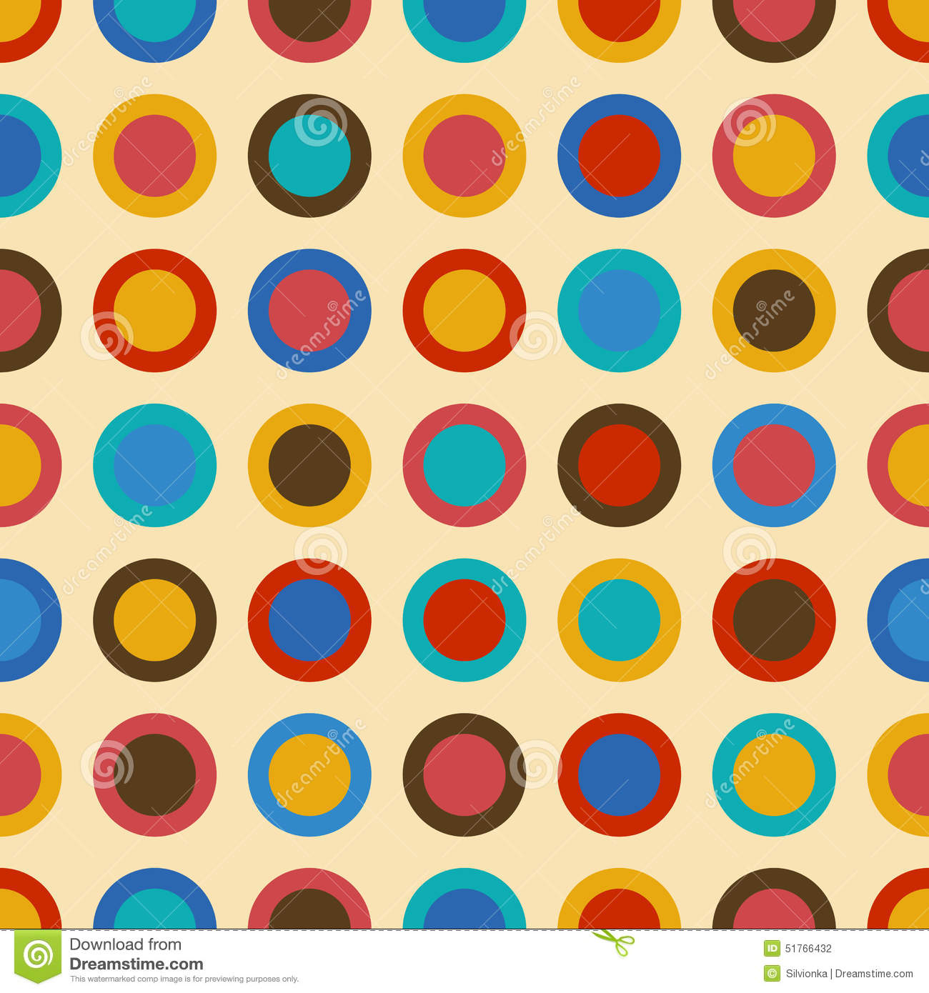 Vintage Background Seamless Pattern With Colorful Circles ...