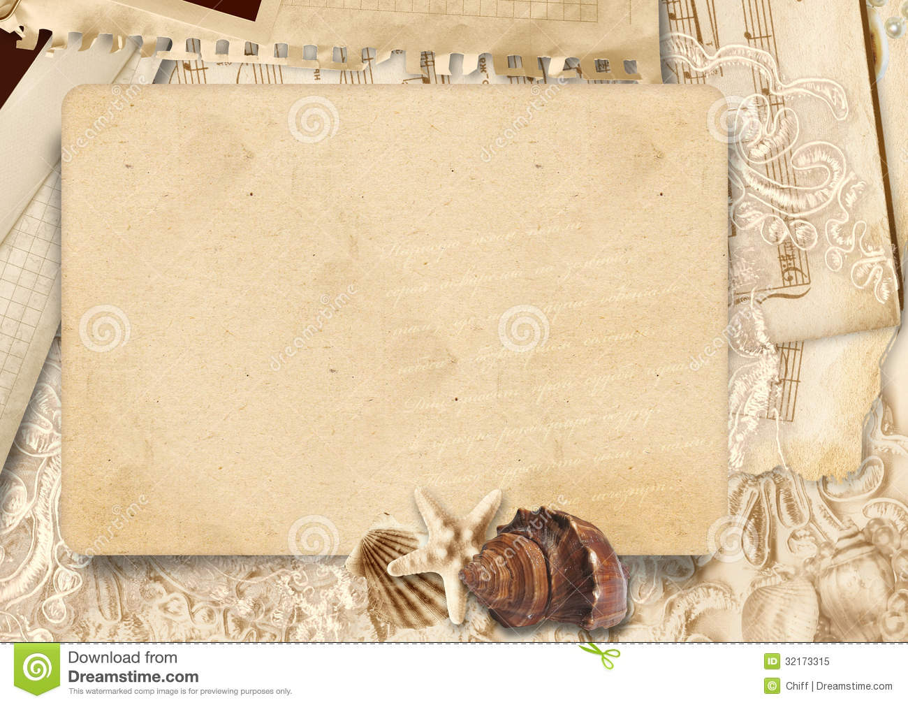 vintage background with stack old card and seashells
