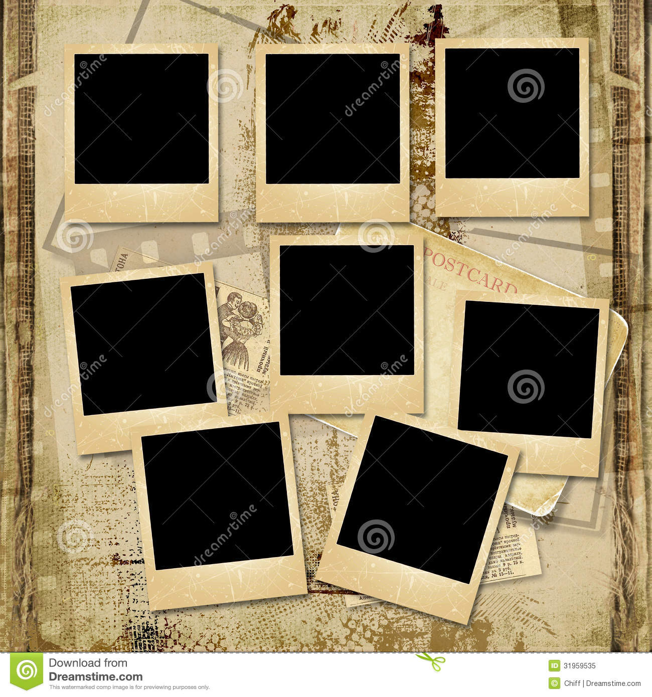 vintage background with stack of old polaroid frame stock. Black Bedroom Furniture Sets. Home Design Ideas
